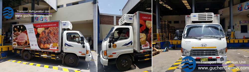 guchen thermo truck refrigeration units export to peru food company